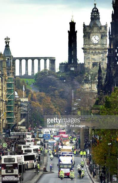 A convoy of truckers protesting about fuel prices in Edinburgh's Princes Street The protest started in John O'Groats and moved down Edinburgh's main...