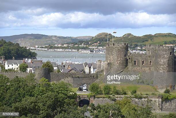 Conwy Castle which was built by Edward I during his conquest of Wales between 1283 and 1289 standing over the North Wales coastal town of Conwy in...