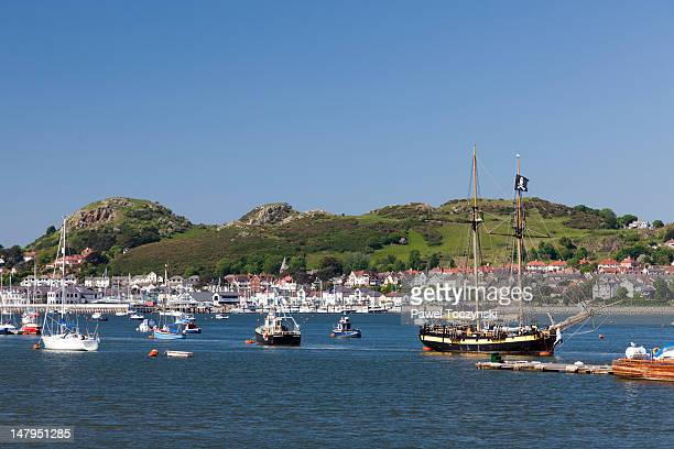 Conwy harbor with a 'pirate' ship