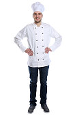 Cook apprentice trainee cooking with job young man standing isolated on a white background