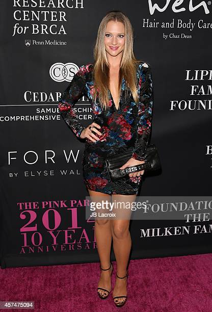 A J Cook attends Elyse Walker presents the 10th anniversary Pink Party hosted by Jennifer Garner and Rachel Zoe at HANGAR 8 on October 18 2014 in...