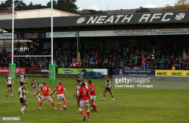 Cook Islands start an attack during the 2013 World Cup match at The Gnoll Neath