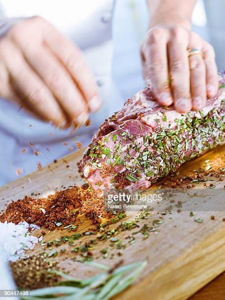 Cook preparing tenderloin Sweden.