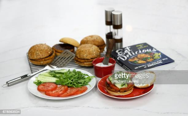 TORONTO ON APRIL 25 Cook this book features an Halloumi Burger which is a type of fried cheeseThis is from the book Eat Delicious by Dennis the...