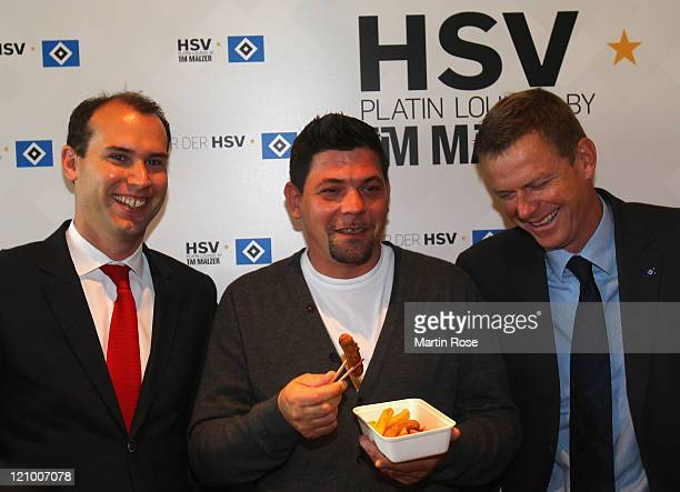 TV cook Tim Maelzer opens the new Platin Lounge with Joachim Hilke member of the the board of Hamburger SV and Eike Gyllensvaerd before the...