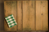 Cookbook backrgound. Picnic table with plaid cloth.