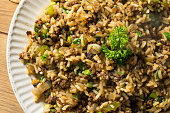 Cooked Cajun Dirty Rice with Ground Pork
