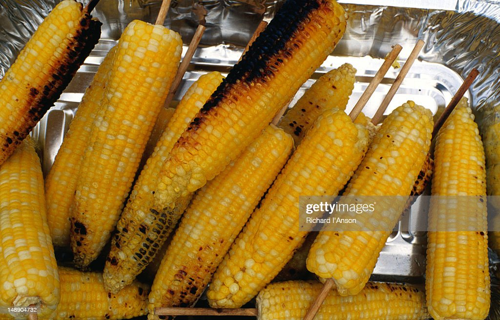 Cooked corn at Howell Farms Sweet Corn Festival, Middleton. : Stock Photo