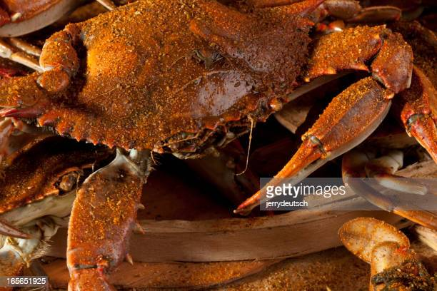 Cooked crabs and Old Bay spices.