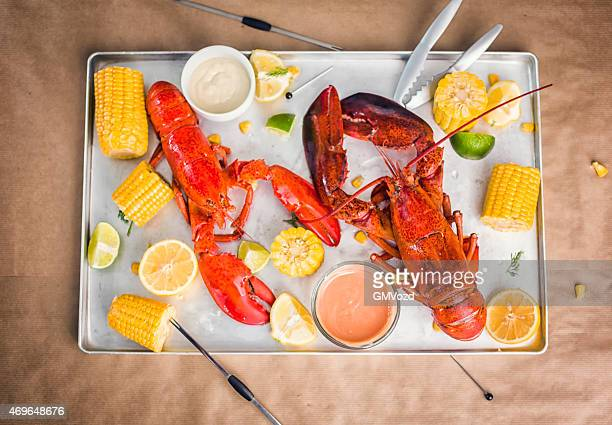 Cooked Lobster Served with Sweetcorn, Lemon and Dipping Sauce