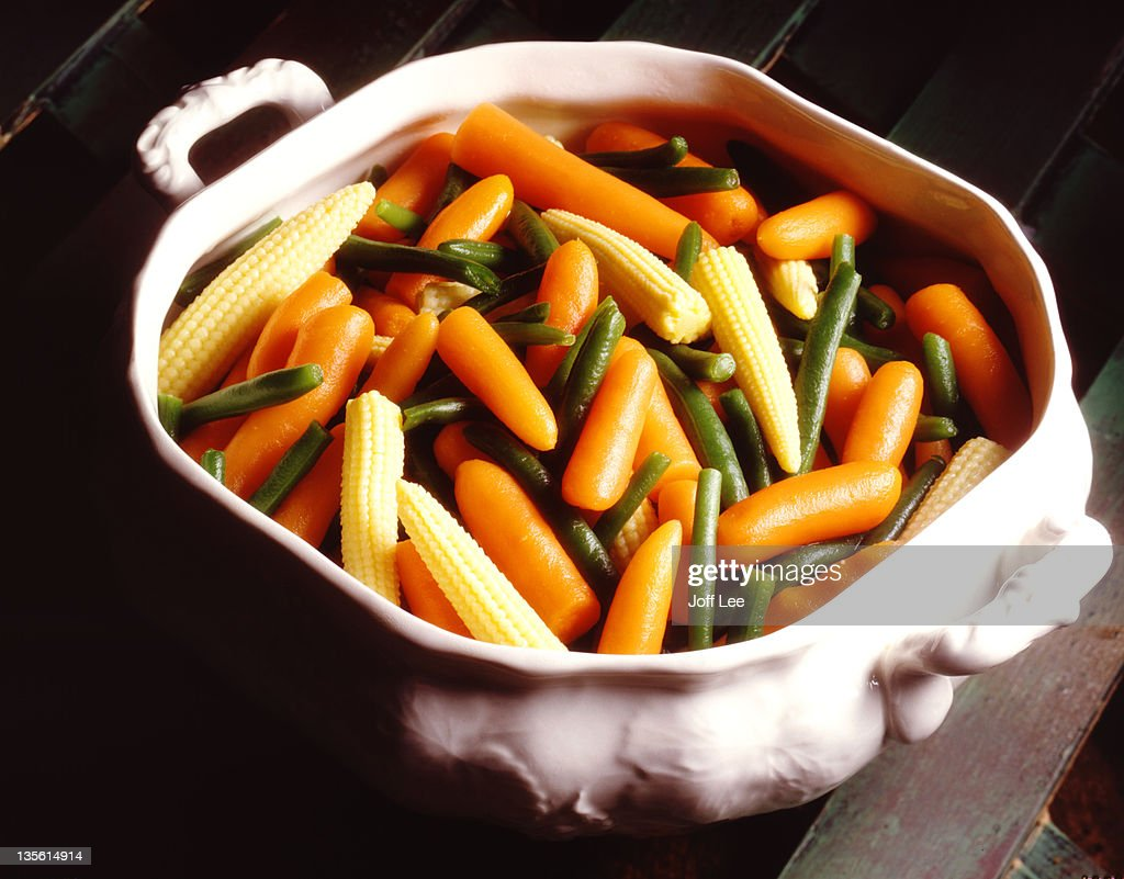 Cooked mixed vegetables in white dish