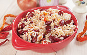 Rice and red kidney beans, brazilian food staple meal