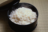 Cooked rice in bowl, high angle view