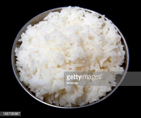 Cooked rice in steel bowl