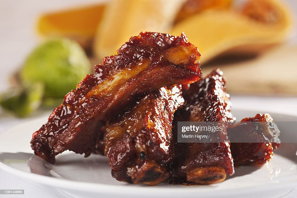 Cooked spare ribs, studio shot : Stock Photo
