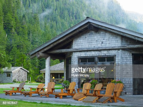 Cookhouse and lounge chairs on deck. : Stock Photo