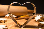cookie cutter heart shape and rolling pin