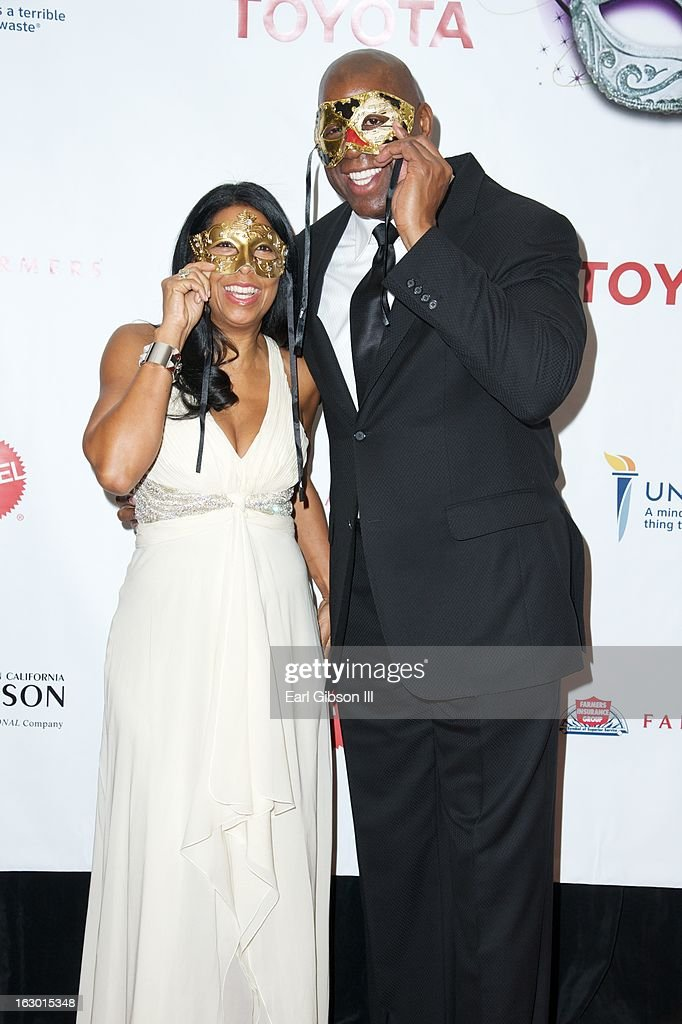 Cookie Johnson and Earvin 'Magic' Johnson attend the UNCF Mayor's Masked Ball Hosted By Mayor Antonio Villaraigosa at Hilton Universal City on March 2, 2013 in Universal City, California.