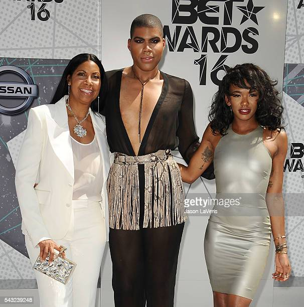 Cookie Johnson EJ Johnson and Elisa Johnson attend the 2016 BET Awards at Microsoft Theater on June 26 2016 in Los Angeles California