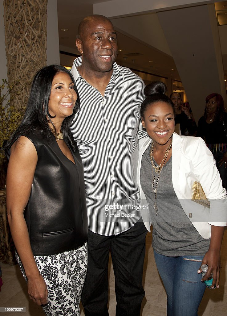 Cookie Johnson, Magic Johnson and Courtney Jones attend Cookie Johnson And Neiman Marcus Host Girls Night Out on April 18, 2013 in Beverly Hills, California.