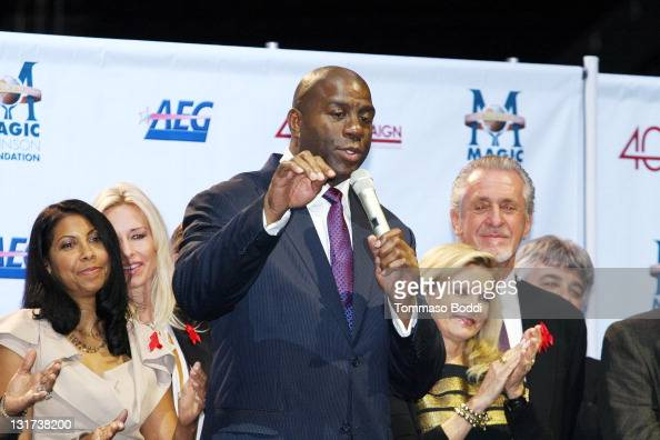 Cookie Johnson Retired basketball player Magic Johnson Chris Riley and Pat Riley attend the 20th Anniversary Of The Magic Johnson Foundation Press...