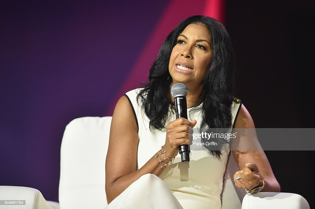 <a gi-track='captionPersonalityLinkClicked' href=/galleries/search?phrase=Cookie+Johnson&family=editorial&specificpeople=846852 ng-click='$event.stopPropagation()'>Cookie Johnson</a> speaks onstage at the 2016 ESSENCE Festival Presented By Coca-Cola at Ernest N. Morial Convention Center on July 1, 2016 in New Orleans, Louisiana.