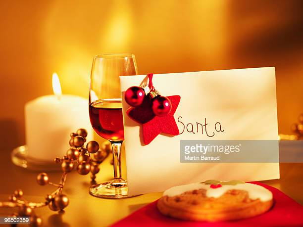 Cookie, wine and card for Santa