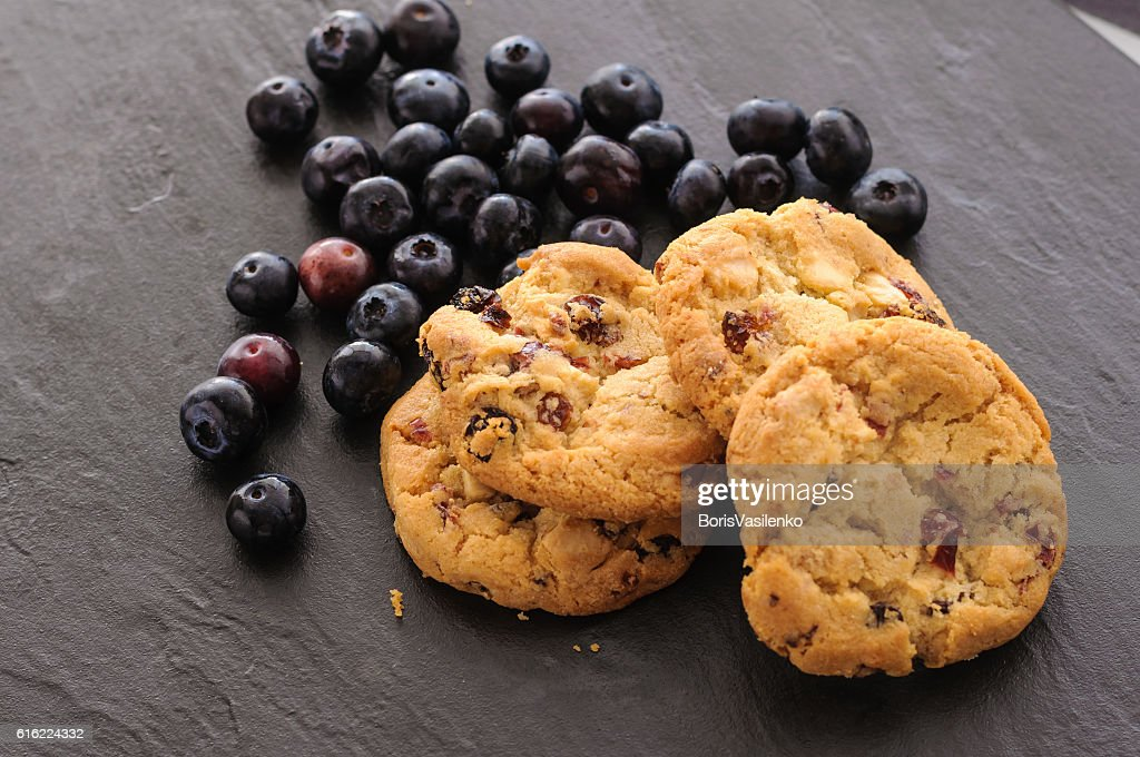 cookies and blueberries : Stock Photo