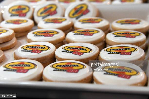 Cookies celebrate the announcement of the new sponsorship and Pennzoil 400 race for 2018 at LVMS on Stratosphere Pole Day for the Kobalt 400 NASCAR...