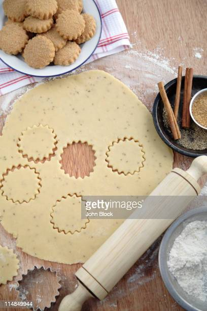 Cookies, cookie dough and rolling pin