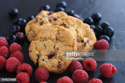 cookies raspberries blueberries : Stock Photo