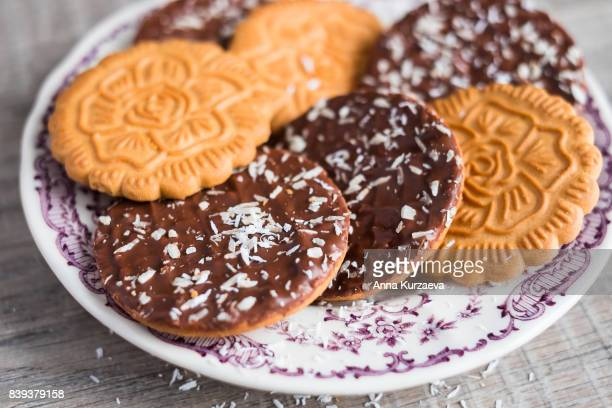 Cookies with chocolate and coconut, selective focus