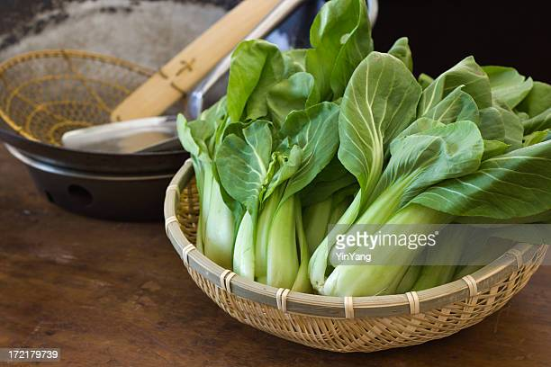 Cooking and Preparing Chinese Bok Choy Vegetable in Kitchen