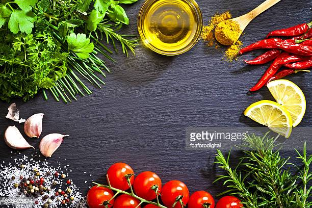 Cooking and seasoning ingredients border