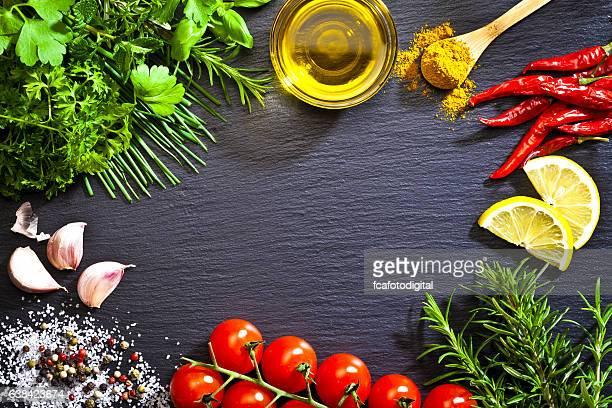 Cocina y condimento ingredientes de la frontera