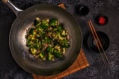 Cooking asian wok with stir fry vegetables, top view, copy space.