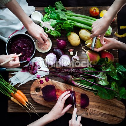 Cooking Beetroot soup : Stock Photo