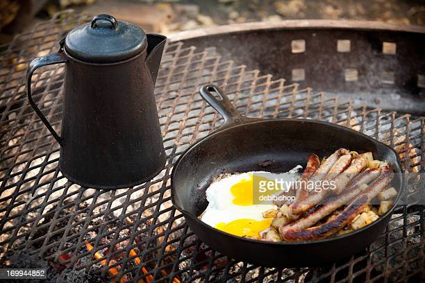Cooking Breakfast Sausage & Eggs Outdoor Campfire with Cast Iron
