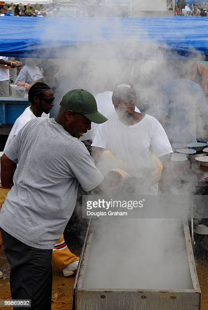 Cooking clams during the 30th annual J Millard Tawes Crab and Clam Bake in Crisfield Maryland