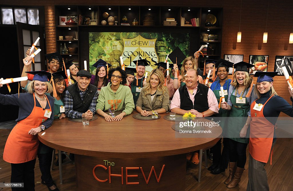 """THE CHEW - Cooking class is in session as """"The Chew Crew"""" teaches a group of viewers in studio how to prepare a dish of the day, led by co-host Michael Symon. Then, each co-host is paired with a viewer to take a master class taught by Mario Batali. 'The Chew' airs MONDAY - FRIDAY (1-2pm, ET) on the ABC Television Network. BATALI"""