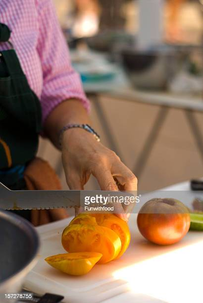 Cooking Classroom Instructor Teaches How Cutting Vegetable Food & Heirloom Tomatoes