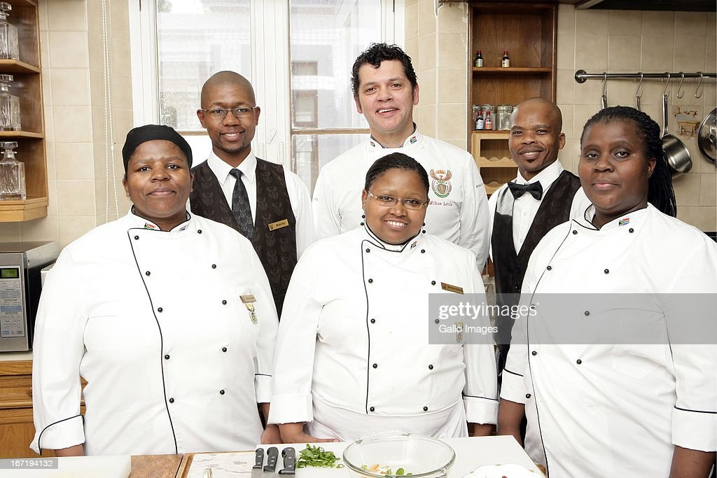 Cooking for the president are the presidential kitchen staff in the front row from left are Gloria Nocanda, Berenice Dumzela and Lucille Eziefor; in the back row from left are Mxolisi Voyi, Hilton Little and Zama Zena on August 20, 2009 in Cape Town, South Africa.
