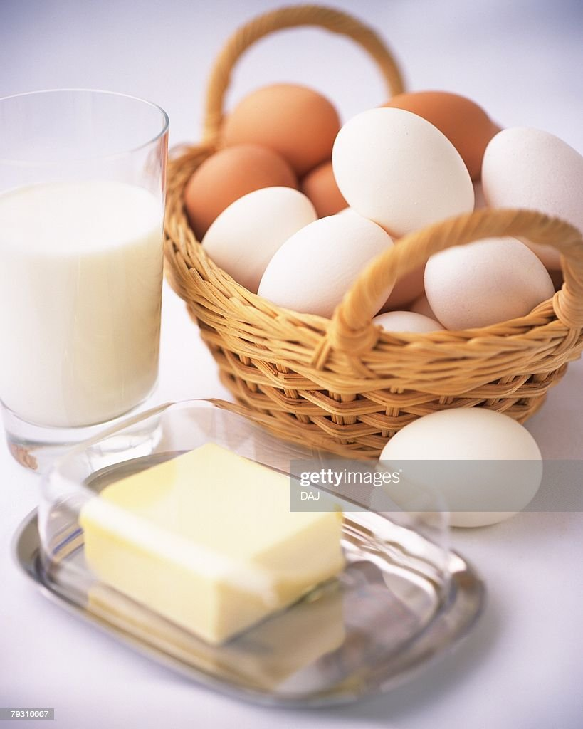 Cooking Ingredients and Dairy Products, High Angle View : Stock Photo