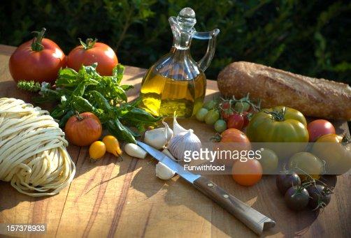 Cooking Ingredients & Olive Oil, Food for Italian Vegetable Pasta Dinner