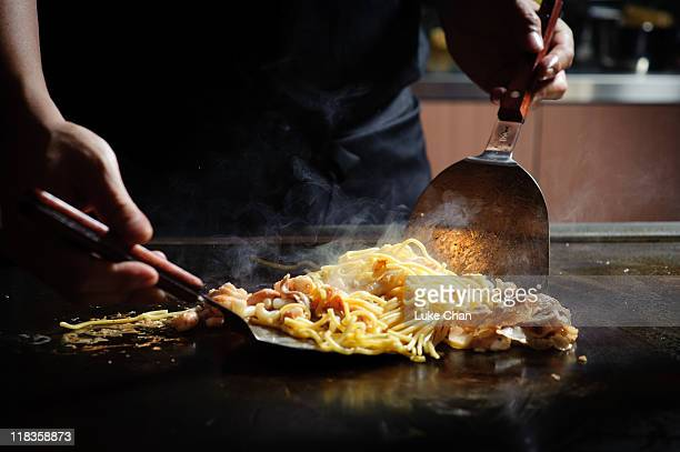 Cooking Japanese fried noodles