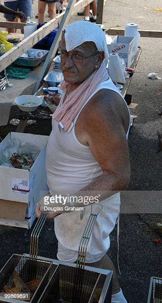 Cooking onion rings during the 30th annual J Millard Tawes Crab and Clam Bake in Crisfield Maryland