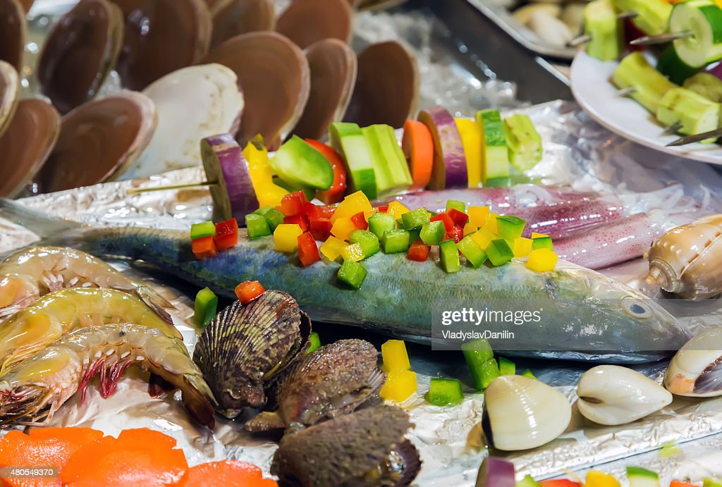Cozinhar marisco. : Foto de stock