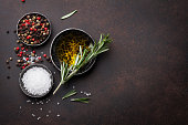 Cooking table with herbs and spices. Top view with copy space for your recipe