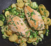 Tarragon chicken being cooked with vegetables in a non-stick wok.