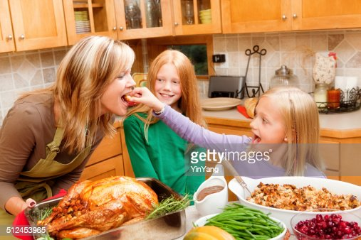 Cooking Thanksgiving and Christmas Family Dinner with Kids in Kitchen